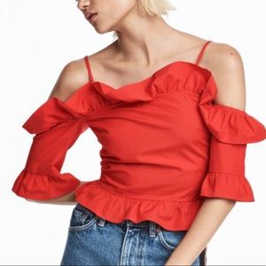 Red Frilly Ruffle Off Shoulder Crop Top